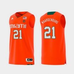 Men Miami Hurricanes Sam Waardenburg Orange Replica College Basketball Jersey