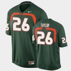 Men Miami Hurricanes Sean Taylor Game Green College Football Jersey