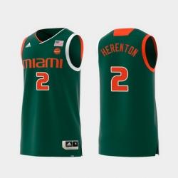 Men Miami Hurricanes Willie Herenton Green Replica College Basketball Jersey