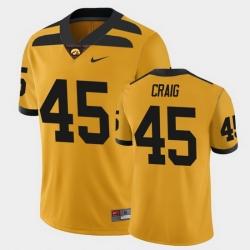 Men Iowa Hawkeyes Deontae Craig College Football Gold Alternate Game Jersey