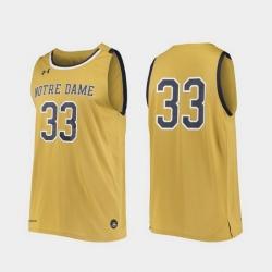 Men Notre Dame Fighting Irish Gold Replica College Basketball Under Armour Jersey