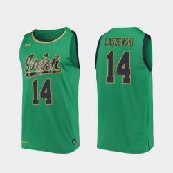 Men Notre Dame Fighting Irish Nate Laszewski Replica Kelly Green College Basketball 2019 20 Jersey