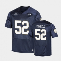 Men Notre Dame Fighting Irish Zeke Correll Replica Navy College Football Playoff Jersey