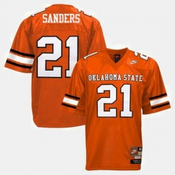 Men Oklahoma State Cowboys And Cowgirls Barry Sanders College Football Orange Jersey