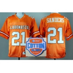 Oklahoma State Cowboys 21 Barry Sanders Orange Throwback College Football NCAA Jerseys 2014 AT & T Cotton Bowl Game Patch