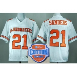Oklahoma State Cowboys 21 Barry Sanders White Throwback College Football NCAA Jerseys 2014 AT & T Cotton Bowl Game Patch