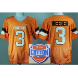 Oklahoma State Cowboys 3 Brandon Weeden Orange Pro Combat College Football NCAA Jerseys 2014 AT & T Cotton Bowl Game Patch