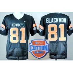 Oklahoma State Cowboys 81 Justin Blackmon Black Pro Combat College Football NCAA Jerseys 2014 AT & T Cotton Bowl Game Patch