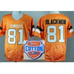 Oklahoma State Cowboys 81 Justin Blackmon Orange Pro Combat College Football NCAA Jerseys 2014 AT & T Cotton Bowl Game Patch
