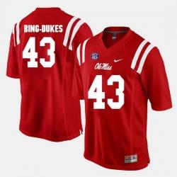 Detric Bing Dukes Red Ole Miss Rebels Alumni Football Game Jersey