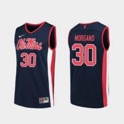 Men Ole Miss Rebels Antonio Morgano Navy Replica College Basketball Jersey