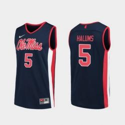 Men Ole Miss Rebels Brian Halums Navy Replica College Basketball Jersey