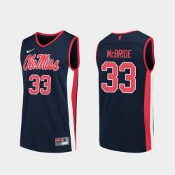 Men Ole Miss Rebels John Mcbride Navy Replica College Basketball Jersey