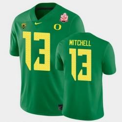 Men Oregon Ducks Dillon Mitchell 2021 Fiesta Bowl Green Game Jersey 0A