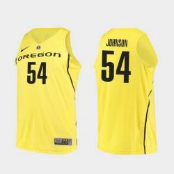 Men Oregon Ducks Will Johnson Yellow Authentic College Basketball Jersey