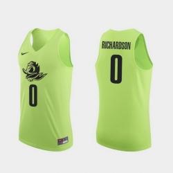 Men Oregon Ducks Will Richardson Apple Green Authentic College Basketball Jersey 0A
