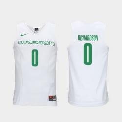 Men Oregon Ducks Will Richardson White Elite Authentic Performance College Basketball Jersey