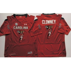 South Carolina Gamecocks 7 Jadeveon Clowney Red Portrait Number College Jersey