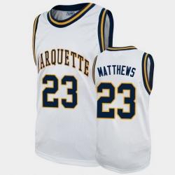 Men Marquette Golden Eagles Wesley Matthews Alumni White College Basketball Jersey