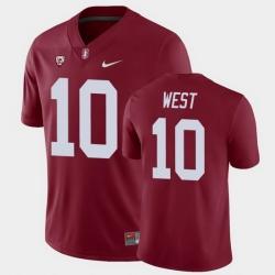 Men Stanford Cardinal Jack West College Football Cardinal Game Jersey