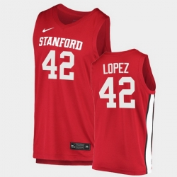 Men Stanford Cardinal Robin Lopez College Basketball Red 2020 21 Jersey
