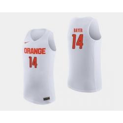 Men Syracuse Orange Braedon Bayer White College Basketball Jersey