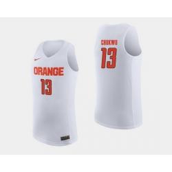 Men Syracuse Orange Paschal Chukwu White College Basketball Jersey