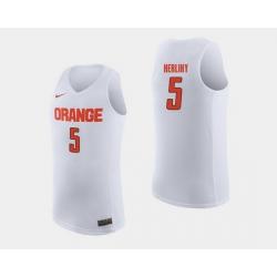 Men Syracuse Orange Patrick Herlihy White College Basketball Jersey