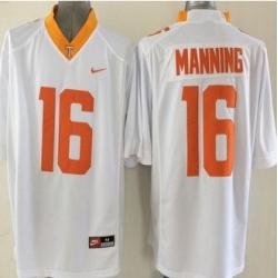 Tennessee Vols #16 Peyton Manning White Orange Stitched NCAA Jersey