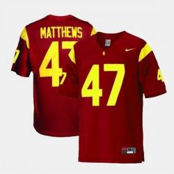 Men Usc Trojans Clay Matthews College Football Red Jersey