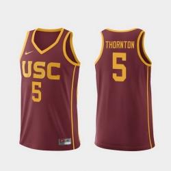 Men Usc Trojans Derryck Thornton Cardinal Replica College Basketball Jersey