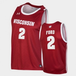 Men Wisconsin Badgers Aleem Ford Replica Red College Basketball Jersey