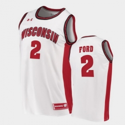 Men Wisconsin Badgers Aleem Ford Replica White College Basketball Jersey