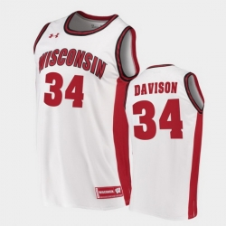 Men Wisconsin Badgers Brad Davison Replica White College Basketball Jersey