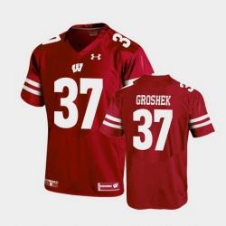 Men Wisconsin Badgers Garrett Groshek Replica Red Football Jersey