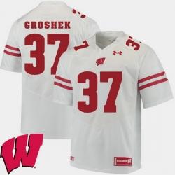 Men Wisconsin Badgers Garrett Groshek White Alumni Football Game Ncaa 2018 Jersey