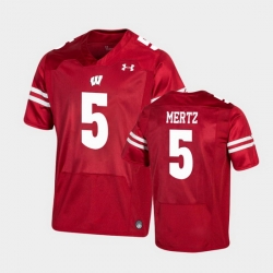 Men Wisconsin Badgers Graham Mertz Premier Red Football Jersey