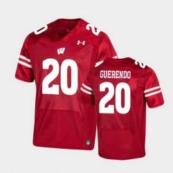 Men Wisconsin Badgers Isaac Guerendo Premier Red Football Jersey