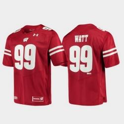Men Wisconsin Badgers J.J. Watt 99 Red Alumni Football Game Replica Jersey