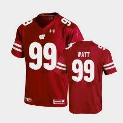 Men Wisconsin Badgers J.J. Watt Replica Red Football Jersey