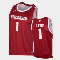 Men Wisconsin Badgers Jonathan Davis Replica Red College Basketball Jersey
