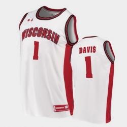 Men Wisconsin Badgers Jonathan Davis Replica White College Basketball Jersey