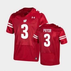 Men Wisconsin Badgers Kendric Pryor Premier Red Football Jersey