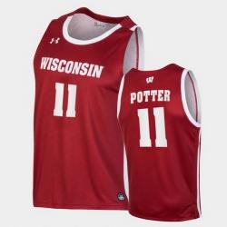Men Wisconsin Badgers Micah Potter Replica Red College Basketball Jersey
