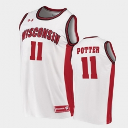 Men Wisconsin Badgers Micah Potter Replica White College Basketball Jersey