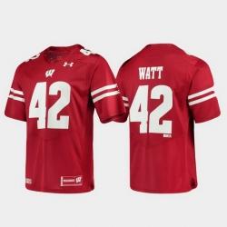 Men Wisconsin Badgers T.J. Watt 42 Red Alumni Football Game Replica Jersey