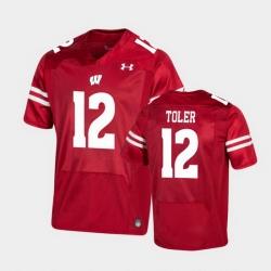 Men Wisconsin Badgers Titus Toler Premier Red Football Jersey