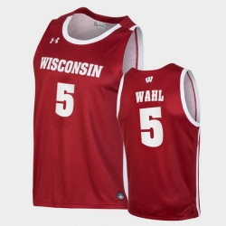 Men Wisconsin Badgers Tyler Wahl Replica Red College Basketball Jersey