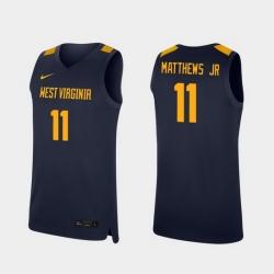 Men West Virginia Mountaineers Emmitt Matthews Jr. Navy Replica College Basketball Jersey