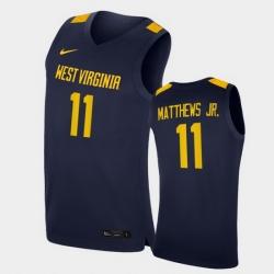 Men West Virginia Mountaineers Emmitt Matthews Jr. Replica Navy College Basketball Jersey